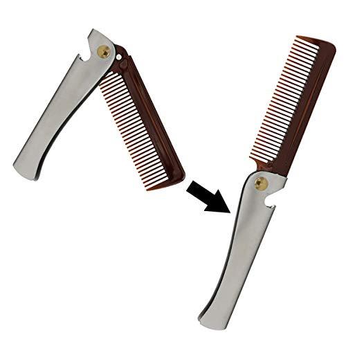 SH-RuiDu Direct Store Edelstahl Braun Folding Pocket Comb Men Ölkopf Kamm Haarpflege Werkzeug Flaschenöffner -