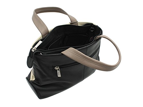 Mala Leather Collezione BURCHELL Borsetta a Mano in Pelle con Cinturino da Spalla 738_39 Prugna Multi Nero Multi