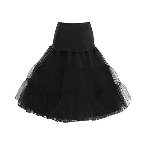"""IMUYI Les années 1950 Vintage Femmes Retro Underskirt Tutu Jupe 26 """"Longueur Petticoat Noir"""