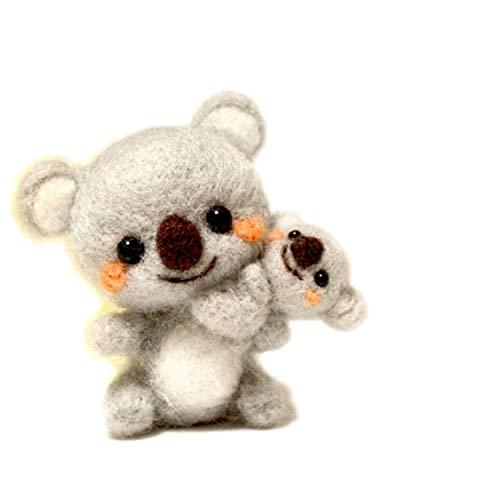 1 Set Wolle für Filz DIY Paket Panda Katzen Hunde Kaninchen Hirsch Löwe Stempel Nadelfilzen Set Tiere Einheitsgröße burgunderfarben