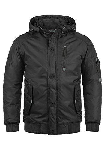SOLID Bettino Herren Winterjacke Jacke mit Kapuze und Knopfleiste aus hochwertiger Materialqualität, Größe:M, Farbe:Black (9000)