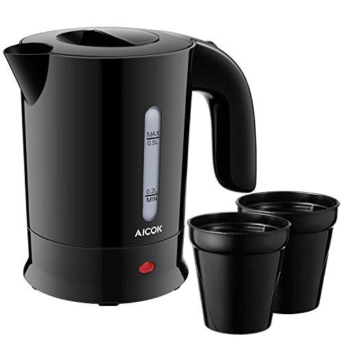 Aicok Hervidor de Agua Eléctrico, Apagado Automatic y sin Cordones Tetera Para Viaje,  Libre De BPA, 120V/220-240V,  0,5 Litros, 650W, Negra