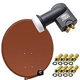 PremiumX Digital SAT Anlage 80 cm Stahl Schüssel Spiegel Antenne Ziegelrot + PremiumX Quad LNB PXQS-SE 0,1dB für 4 Teilnehmer + 8 F-Stecker 7mm vergoldet