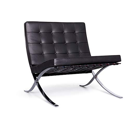Knoll International Barcelona Chair Designer Leder Sessel Schwarz Echtleder Stuhl #6917 - Designer Leder Stühle