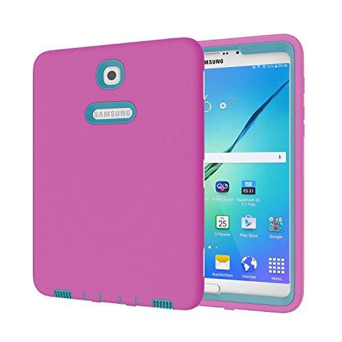 Galaxy Tab S28.0Fall, beimu 3in 1Hybrid PC + Silikon stoßfest stoßabsorbierenden Ecke/Bumper Schutz Armor Defender Schutzhülle für Samsung Galaxy Tab S28.0sm-t710/sm-t715, Rose+Teal (3 Tab Samsung Galaxy Otterbox)