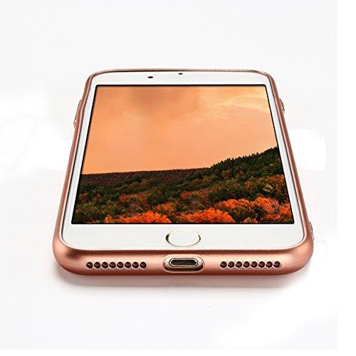 iPhone 7 Plus Hülle, E-Lush TPU Soft Silikon Tasche Transparent Schale Clear Klar Hanytasche für iPhone 7 Plus (5.5 Zoll) Durchsichtig Rückschale Ultra Slim Thin Dünne Schutzhülle Weiche Flexibel Hand Rosengold