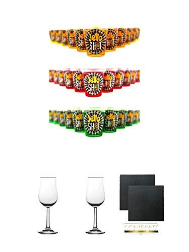 Jello Shot 30er MIX jeweils 10 x Waldmeister, Himbeere, Maracuja Wackelpudding mit Wodka 42 Gramm + 2 Bugatti Nosing Gläser mit Eichstrich 2cl und 4cl + 2 Schiefer Glasuntersetzer eckig ca. 9,5 cm Ø