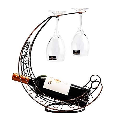 WJP Decorazione portabottiglie in Ferro battuto per la casa, Porta Bicchiere da Vino rovesciato, portabottiglie da Bar Ristorante,Bronzo,Centimetro