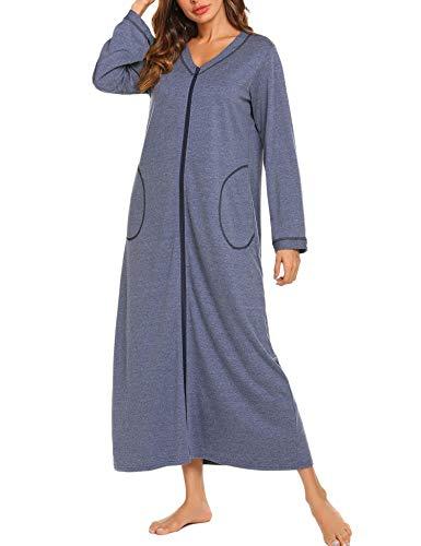 Doneto Baumwolle Bodenlang Nachthemd morgenmantel Langarm warm weich Schlafkleid Saunamantel