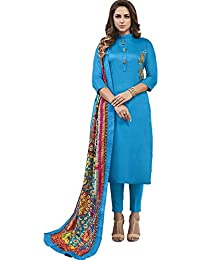 Style New Blue Heavy Jam Cotton With Designer Hand Work Long Stitched Suit