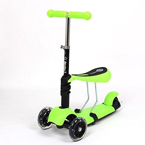 FASCOL® 3 in 1 Niños 3 rueda scooters,Patinete / Scooter de para Niños de 3-9 años + rodillera,Multifuncionales deportes al aire libre Carga máxima 25KG -