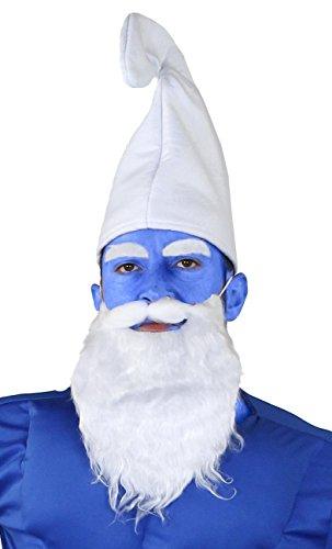 ILOVEFANCYDRESS MAGISCHE Zwerge =SCHLUMPF KOSTÜM VERKLEIDUNG Set=Frau+SCHLAUEN ZWERG +NORMALEN ZWERG= ALLE Set KOMMEN MIT Einer WEISSEN MÜTZE+BLAUEM Make UP = Set Pappa (Gnome Kind Kostüm)