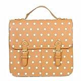 Ladies Fashion Satchel Bags (Tan Polka Dot)