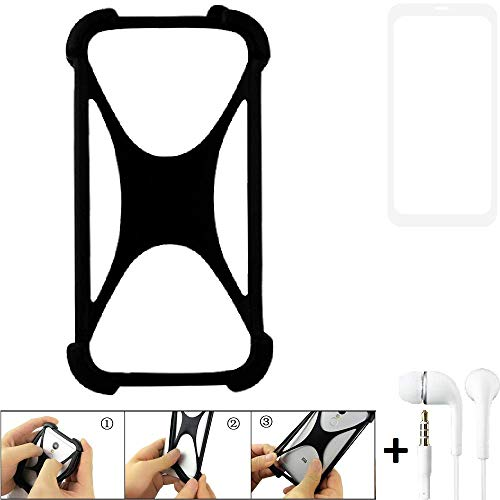 K-S-Trade Handyhülle für Vestel V3 5580 Dual-SIM Schutzhülle Bumper Silikon Schutz Hülle Cover Case Silikoncase Silikonbumper TPU Softcase Smartphone, schwarz (1x), Headphones