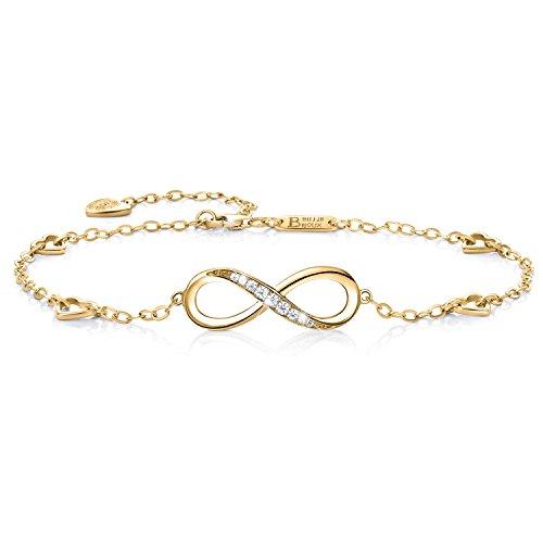 Billie Bijoux Infinity Unendlichkeit Symbol Damen Fußkettchen 925 Sterling Silber Zirkonia Armkette Verstellbar Charm Knöchel Armband (oro)