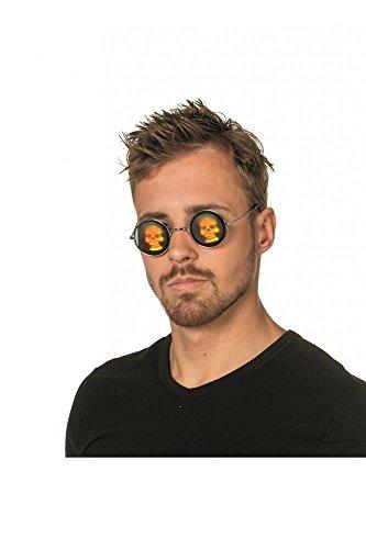 shoperama Brille mit holgraphischem Motiv Totenkopf Kostüm-Zubehör Holgramm Sonnenbrille, Namen:Totenkopf