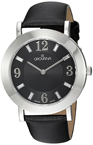 GROVANA 4433.1537 Unisex Quartz Swiss Watch with Black Dial Analogue Display and Black Leather Strap