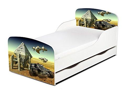 Leomark KINDERBETT 140x70 mit Schublade Funktionsbett Einzelbett mit Matratze Motiv: Raumfahrzeug Sehr Einfache Montage, Bettkasten