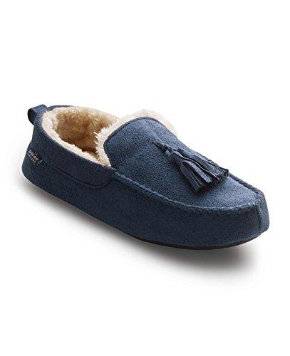 Savile Row Men's Navy Suede Tassel Moccasin Slippers 9