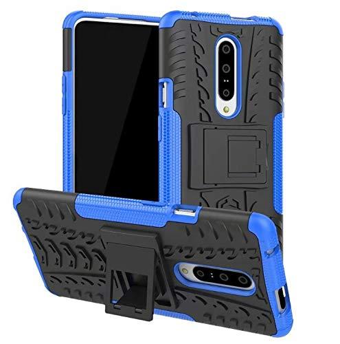 hyujia Compatible One Plus 7Pro Funda 2018/3D Vidrio Templado+360 Grados Caja PC Dura Carcasa Híbrido Armadura Heavy Duty Bumper Case movil Hard Cover com Soporte para One Plus 7Pro Azul