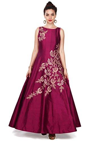 Insight ecommerce Women\'s Purple Colour Taffeta Silk Embroidered Gown for Women (PURPLE)