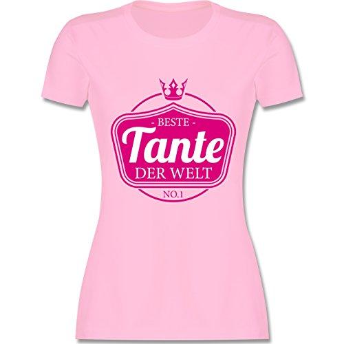 Shirtracer Schwester & Tante - Beste Tante der Welt - Damen T-Shirt Rundhals Rosa