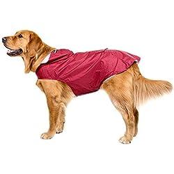Bwiv Impermeable Chubasquero Para Perros Grandes Ultra-Light Con Banda Reflectante Talla 3XL-5XL Rojo