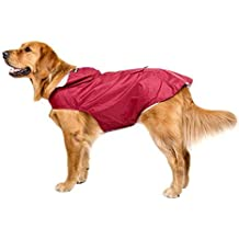 Bwiv Impermeable Chubasquero para Perros Grandes con Capucha Ajustable Ultra-Light Transpirable Impermeable para Mascotas