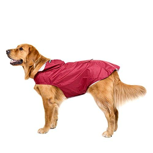 Bwiv Impermeable Chubasquero para Perros Grandes con Capucha Ajustable Ultra-Light Transpirable Impermeable...