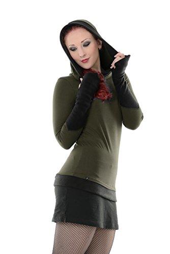 3Elfen Winterpulli Damen/Winter Pullover Gothic/Goa Hoodie Frauen mit Fleece Armstulpen und...