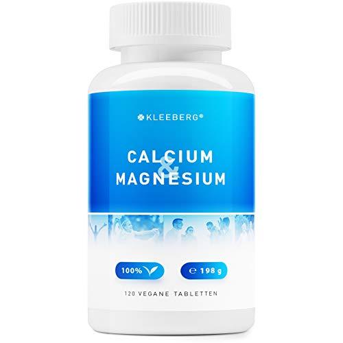 Calcium und Magnesium - 120 vegane kapseln | nur 2 Tabletten pro Tag | hochdosiert - 1200 mg - höher dosiert als Magnesiumcitrat | kein Pulver | von Kleeberg -