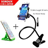 XORDUX Today Offer : Full Metal Mobile Holder For Bed And Table | Flexible Mobile Stand For Mobile Camera Video Recording | Free Easy Pocket Mobile Holder For Bed And Table [ Color May Vary ]