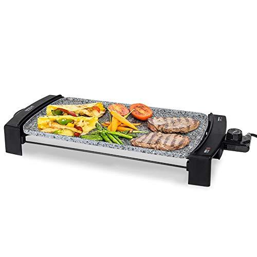 Rock&water 2500! piastra elettrica in pietra lavica senza pfoa e ptfe grande 63cm con termostato regolabile bistecchiera griglia bbq barbecue barbeque elettrico teppanyaki multiuso tavolo 03053