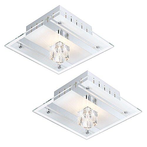 2er Set Decken Leuchten Deko Metall lackiert Spiegel Glas satiniert Wand Lampen (Lackiert Glas Wand)