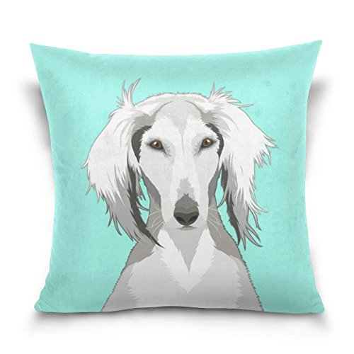 pants hats Saluki Dog Square Throw Pillow Case Cotton Velvet Cushion Cover 18