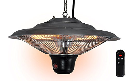 Futura Ceiling Mounted Electric Halogen Outdoor Garden Patio Heater 1500W 3 Heat Settings with Remote Control