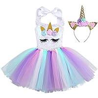 e5fa1fb3e227a TiaoBug Vestido de Unicornio Niñas para Fiesta Cosplay Disfraz Tutú Falda  Lentejuelas Princesa Cuello Cogido con