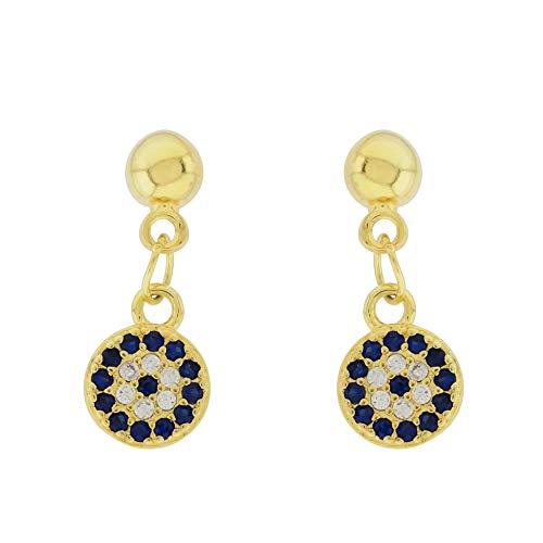 SAVILE pendientes para mujer de ojo turco largo azul con circonita cúbica en plata de 925 recubierta de oro 18k