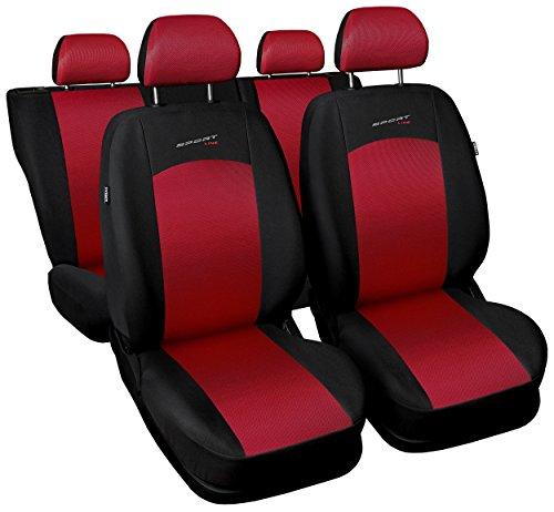 Carpendo Sitzbezüge Auto Set Autositzbezüge Schonbezüge Schwarz-Rot Vordersitze und Rücksitze mit Airbag System - Sportline