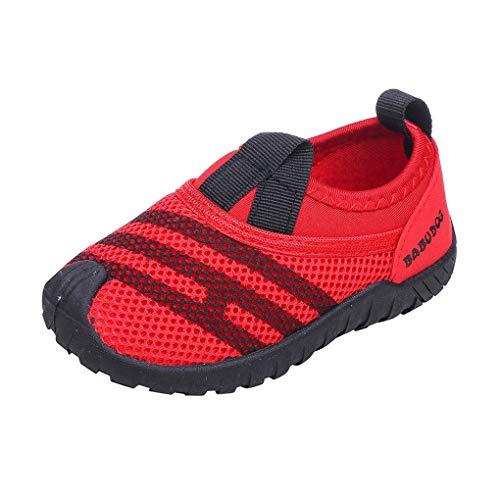 Dorical Unisex Babyschuhe Kinder Mesh Schuhe Kleinkind Schuhe,Jungen Mädchen Sommer Atmungsaktiv Lauflernschuhe Sportschuhe Freizeitschuhe Sneaker Krabbelschuhe mit Weiche Sohle(Rot,23 EU)