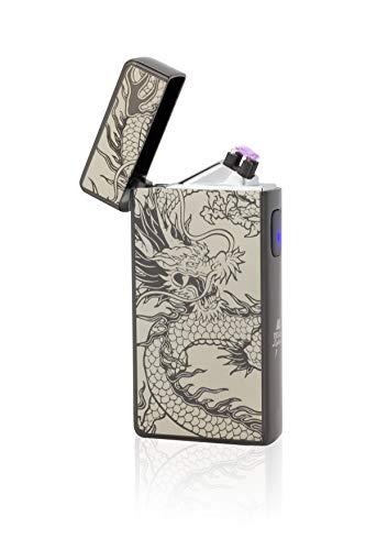 TESLA Lighter T13   Lichtbogen Feuerzeug, Plasma Double-Arc, elektronisch wiederaufladbar, aufladbar mit Strom per USB, ohne Gas und Benzin, mit Ladekabel, in Edler Geschenkverpackung, Schwarz Drache