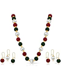 Kiwi Kreation Multi Colour Handmade Ethnic Designer Necklace And 3 Pairs Earrings Combo For Women And Girl