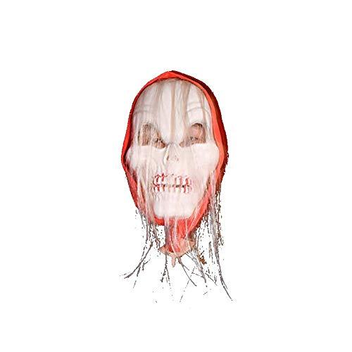 Carry stone Premium Qualität Halloween Kostüm Maske Leuchtende Schädel Vollmaske Horror Skelett Mit Haar Cosplay Maskerade Scary Glow in Dark für Karneval Festival Party