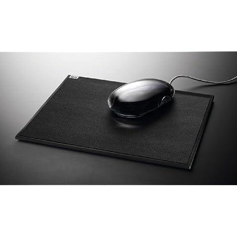 Sigel SA502 Tappetino mouse cintano, morbida pelle, nera scura con superficie Soft-Touch e piedini in silicone