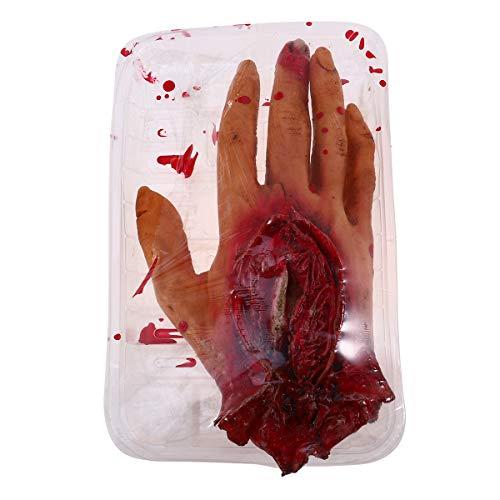 Amosfun Scary Bloody Severed Fake Hand Mahlzeit Box Körperteile für Haunted Halloween Partydekorationen Supplies Party Favors