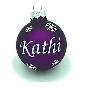 Weihnachtskugel mit Name aus Glas 6cm Wunschtext Lila Matt