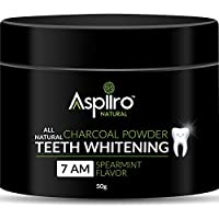 Aspiiro Natural 7 AM Organic Instant Teeth Whitening Charcoal Powder - 50 gm | All Natural Spearmint Flavor to Removes Tooth Stains and Bad Breath