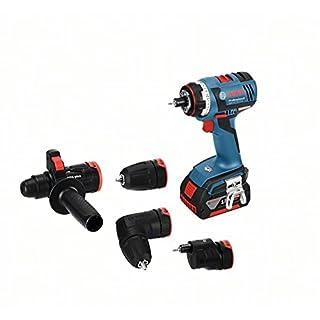 Bosch Professional Akkuschrauber GSR 18 V-EC FC2 (2x 4,0 Ah Akku, Ladegerät, Bohrfutter, Winkel- Exzenter- SDS-plus-Hammeraufsatz, L-BOXX, 18 Volt, Max. Drehmoment: 50 Nm, max. Schraub-Ø: 10 mm)