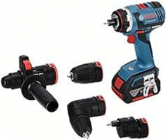 Bosch Professional GSR 18 V-EC FC2 Akku-Bohrschrauber, 2 x 4,0 Ah Akku, 4 Aufsätze, 18 V, L-Boxx, 06019E1100