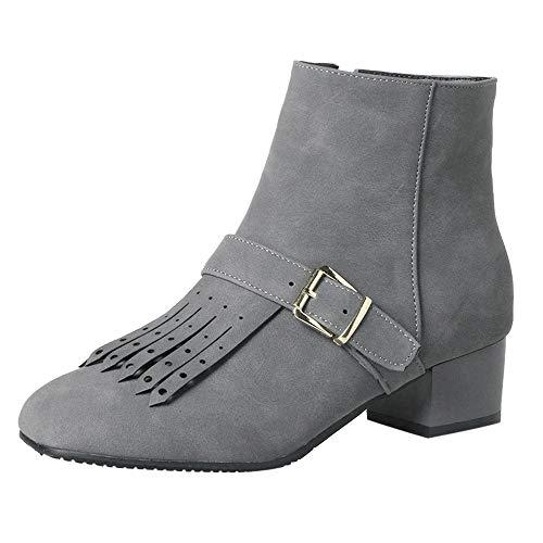 67bd02266 LuckyGirls Botas de Cuero Flecos Retro Zapatos de Tacón Bajo Calzado  Zapatillas para Mujer Moda Botina